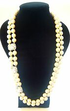 MARTINE WESTER 3 CLEAR DIAMOND CRYSTAL & PEARL  Necklace BNWOT