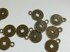 30 Metal Findings, Tibetan Style Round Coin. 10mm Embellish/Jewellery Making/Sew