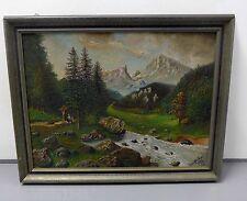 Gemälde --Bergmassiv mit Flusslauf-- im  Rahmen signiert Saenflt, Karl