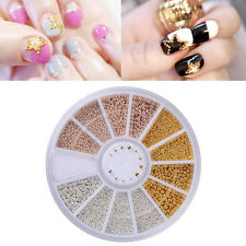 0.8-1.3 mm 3D Nail Art Deco Gold/Silver/Rose Gold Metal Materials Beads Wheel