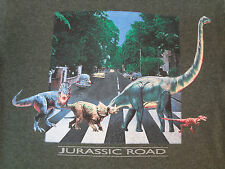 JURASSIC ROAD - DINOSAUR ABBEY ROAD SPOOF - GREEN SMALL T-SHIRT T244