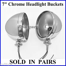 "Chrome 7"" Headlight Lamp Buckets Housings w/ Wires Dietz Pair Streetrod Hot Rod"