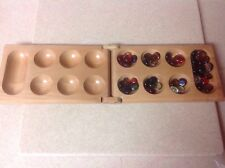 Mancala Game Set Wooden Folding Hinged Board Clear Glass Gemstone Pieces