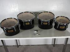 Pearl Championship Marching Tenor Quad Drums Midnight Black 8/10/12/13""