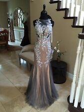 $398 NWT GUNMETAL JVN BY JOVANI PROM/PAGEANT/FORMAL DRESS/GOWN #98665 SIZE 0