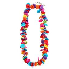 Funky Colourful Multi-Coloured Cluster Buttons Necklace - Joe Cool Blue Pink New