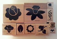 STAMPIN' UP! DEFINITELY DECORATIVE FUN FLOWERS RUBBER STAMP SET MOUNTED NEW 1998