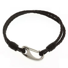 "Men's 8"" Dark Brown Leather Bracelet With Stainless Steel Clasp"