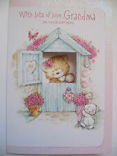STUNNING CUT OUT GLITTER COATED LOTS OF LOVE GRANDMA BIRTHDAY GREETING CARD