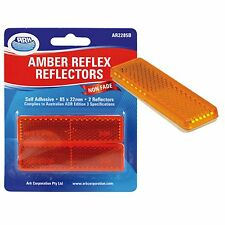 Ark REFLEX REFLECTOR 22x85mm 2Pcs AMBER Self Adhesive Easy Application AUS Brand