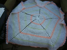 Pram baby pentagon star blanket unisex acrylic yarn hand crocheted peach/lemon