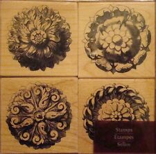 FLORAL ROSETTES Rubber Stamps 243187 Recollections Set of 4 Brand NEW! flowers