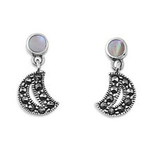Marcasite Moon with Mother of Pearl Earrings Sterling Silver 925 Vintage Jewelry