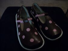 NEW GIRLS LEATHER SHOES PUDDLE JUMPERS SALE BROWN W/ PINK DOTS YOUTH 5 & 6