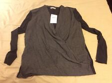 Zara Crossover Long Sleeve T-Shirt Size M Grey