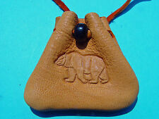 Bear Branded Gold Leather Medicine Pouch Buckskin Necklace Medicine Bag 1063