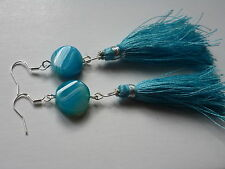 GENUINE TROPICAL BLUE AGATE WITH BLUE TASSELS AND SET IN STERLINGSILVER EARRINGS