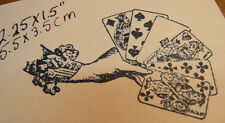 P13 Hand with playing cards rubber stamp WM 2x2""