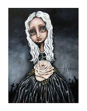 ROSE PRINT ANGELINA WRONA  11x14 poster fantasy surreal girl white hair cemetary