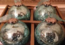 Set of 4 Kugel Vintage Style Blue Mercury Crackled Glass Large Ball Ornaments
