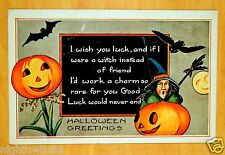 IF I WERE A WITCH INSTEAD OF FRIEND I'D WORK A CHARM Halloween Whitney Postcard