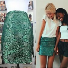 New! Brandy melville Green silky chinese floral mini moss skirt NWT XS/S