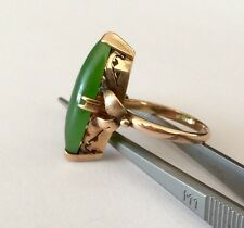 EXQUISITE ANTIQUE 14K YELLOW GOLD  SPINACH MARQUISE JADE WOMANS RING SIZE 6 1/4