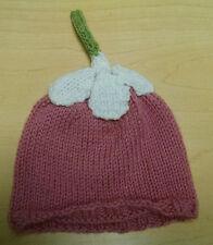 Hand Knit STRAWBERRY BABY HAT Newborn PINK & WHITE Cap Beanie SOFT 0-6 months