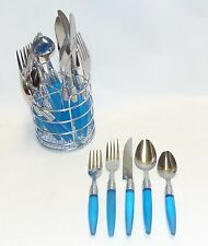 20 pc Frosted Blue Casual STAINLESS FLATWARE SET Wire Rack NEW!