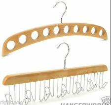 Combo Natural Wooden Tie Belt Jewelry Hanger + Scarf Stole Wood Hanger