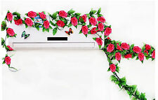 2.4mArtificial Rose Garland Silk Flower Vine Leaf Home Wedding Garden decoration