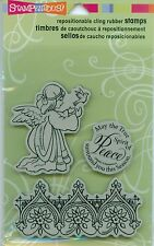 STAMPENDOUS cling rubber stamp set ANGEL Christmas Peace Sentiment Border