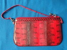 100% VERA VERA ROSSO MAR NERO SNAKE SKIN LEATHER SMALL HANDBAG PURSE POUCH