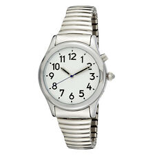 Men's Silver Tone Talking Watch White Face - Choice of Voices Male & Female