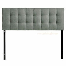 KING FABRIC HEADBOARD BUTTON TUFTED UPHOLSTERED BEIGE, GRAY, WHITE, NAVY BLUE