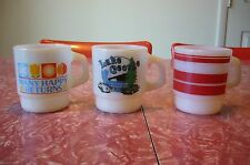 Fire King Anchor Hocking Mug Cup Lake George MANY HAPPY RETURNS Red Stripe