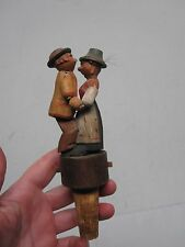 VINTAGE ANRI WOOD CARVED MECHANICAL BAR BOTTLE CORK ~ KISSING COUPLE 6 1/4""