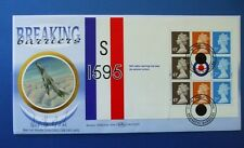 BENHAM 1998 BREAKING BARRIERS BOOKLET PANE FDC SIGNED BY SQN LDR NEVILLE DUKE