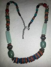 Chico's Wood Glass Stone Bead Necklace Blue Red Rust Coral Brown Gold Silver