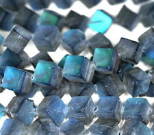 8MM MYSTIC AURA QUARTZ GEMSTONE MATTE TITANIUM GREY  CUBE LOOSE BEADS 7""