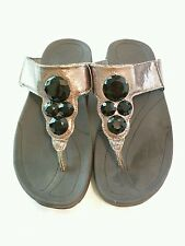 Jewelled sandals, pewter with black 'gems', size small(5/6) fitflop style