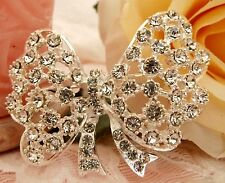 Rhinestone Crystals Bow Brooch new