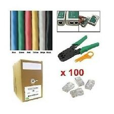 1000' Ft CAT5E UTP Solid LAN Network Cable Network Tool Kit-Tester+Crimper+Plug