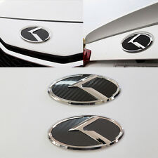 3D K Logo Front + Rear Carbon Black Emblem For KIA Forte Koup 2009-2013