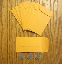 "75 KRAFT COIN ENVELOPES #3 SIZE 2.5"" BY 4.25"" WITH GUMMED FLAP SMALL SEED CHANGE"