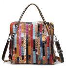 Coloured Genuine Leather Stitching Snake Women Big Satchel Handbag Shoulder Bag