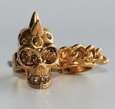ALEXANDER MCQUEEN Skull & Chain Two Finger Ring Size 13 & 15 NEW $445