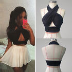 Womens Strapy Cross Over Front Cut Out Halter Neck Crop Top Vest Black-S-XL