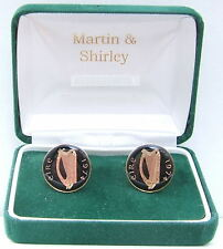 1974 IRELAND cufflinks from OLD IRISH  coins Black Gold