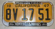 Montebello Motors Ford Dealer California License Plate Frame 1940-55 Restored